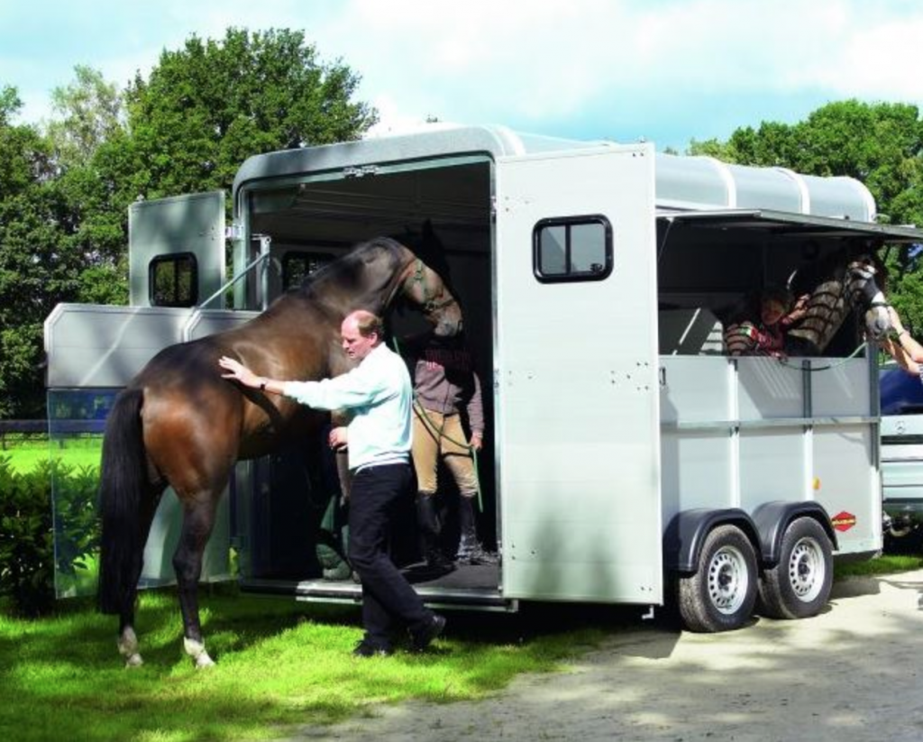 Horse going into trailer
